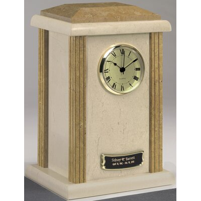 Star Legacy Funeral Network Clock Tower Deluxe Two-Tone Natural Marble Large / Adult Urn in Cream and Earth Grain