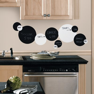 Room Mates Chalkboard and Dry Erase Dots Peel and Stick Wall Decal in Black / ...