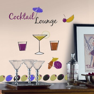Room Mates 65-Piece Martini Lounge Peel and Stick Wall Decal