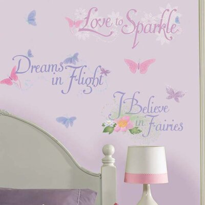 Room Mates Licensed Designs Disney Fairies Phrases Peel and Stick Wall Decal Us Only