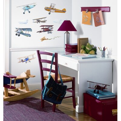 Room Mates 22-Piece Vintage Planes Peel and Stick Wall Sticker