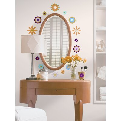 Room Mates 61-Piece Graphic Flowers Peel and Stick Wall Decal