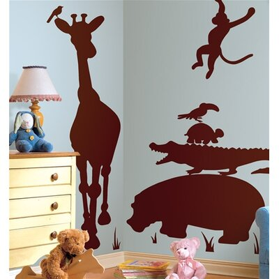 Room Mates Animal Silhouettes Giant Peel and Stick Wall Sticker in Brown