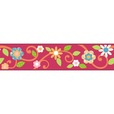 Room Mates Studio Designs Scroll Floral Wall Border in Magenta / Orange