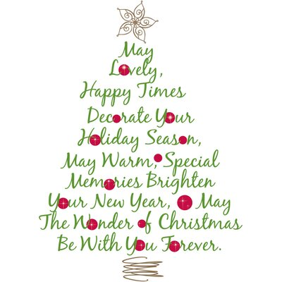 Room Mates Seasonal Christmas Tree Quote Peel and Stick Giant Wall Decal