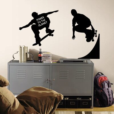 Room Mates Peel and Stick Chalkboard Chalkboard Skaters Chalk Peel and Stick Wall Decal