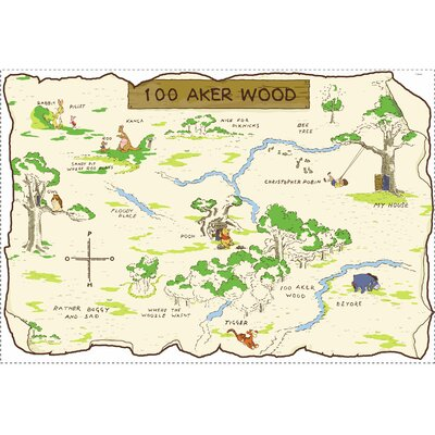 Room Mates Licensed Designs 100 Aker Wood Peel and Stick Map