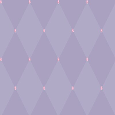 Room Mates Harlequin Wallpaper in Purple with Pink Gems