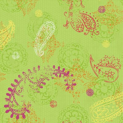 Room Mates Paisley Wallpaper in Lime