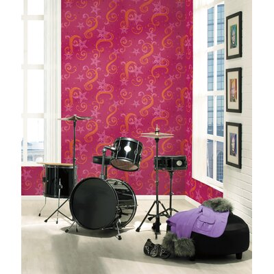 Room Mates Paisley Wallpaper in Magenta