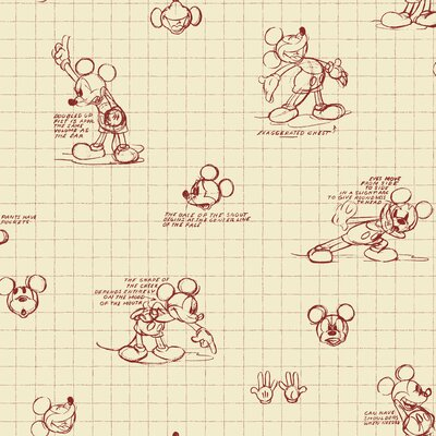 Room Mates Mickey Mouse Sketches Wallpaper in Red