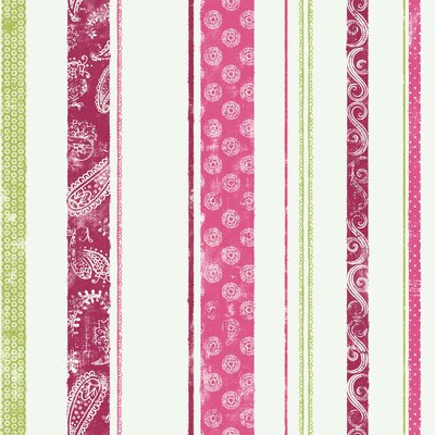 Room Mates Paisley Stripe Wallpaper in Pink