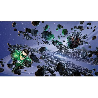 Room Mates Green Lantern Chair Rail Prepasted Wall Mural