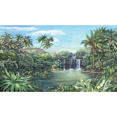 Room Mates Tropical Lagoon Chair Rail Prepasted Mural 6' x 10.5'