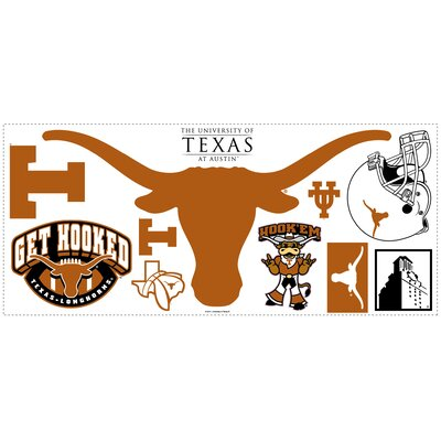 Room Mates University of Texas Peel and Stick Giant Wall Decal wHooks