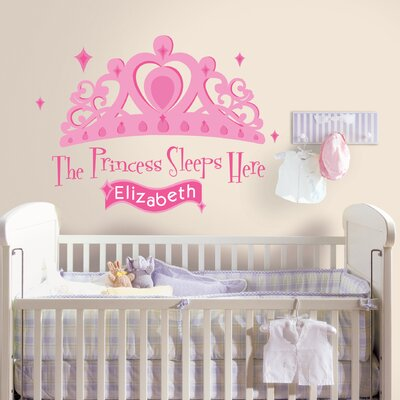 Room Mates 131-Piece Princess Sleeps Here Peel and Stick Giant Wall Decal with Personalization
