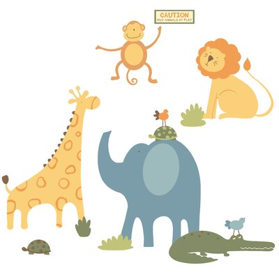 Room Mates Sapna Zoo Animals Peel and Stick Giant Wall Decal