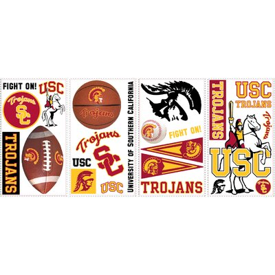 Room Mates 24-Piece University of Southern California Peel and Stick Wall Decal