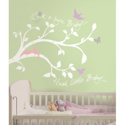 Room Mates Rockabye Bird Branch Peel and Stick Giant Wall Decals