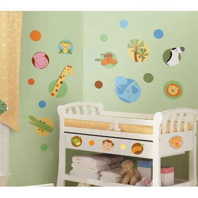 Room Mates Jungle Animal Polka Dot Peel and Stick Wall Decals