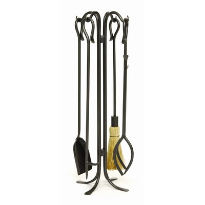 4 Piece Hearth Hooks Wrought Iron Fireplace Tool Set