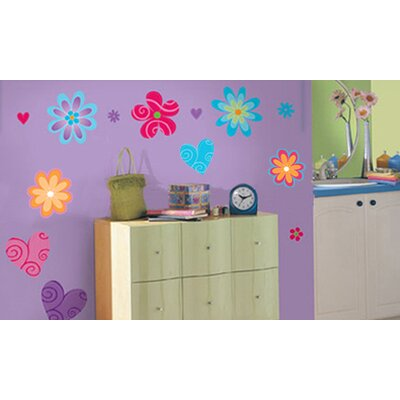 Blue Mountain Wallcoverings Snap Kids Flirty Flowers Self Stick Room Appliqué