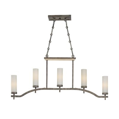 Compositions Kitchen Island Light in Aged Patina Iron with Travertine Stone