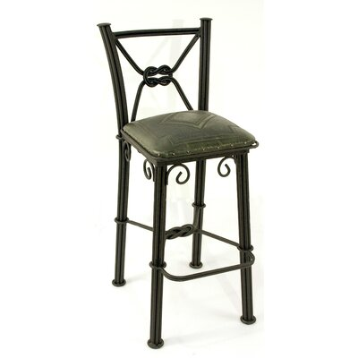 New World Trading Western Iron Counter Stool with Back in Sage Green