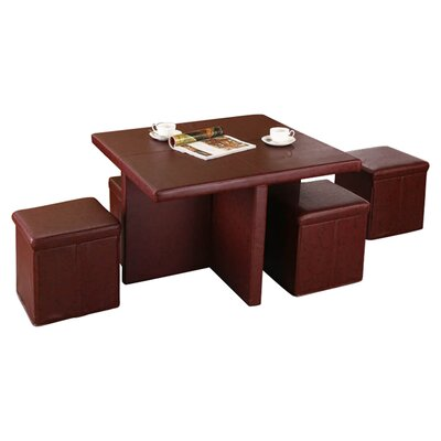 InRoom Designs Coffee Table With 4 Ottomans Reviews