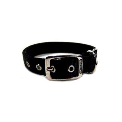 Double Thick Nylon Deluxe Dog Collar in Black