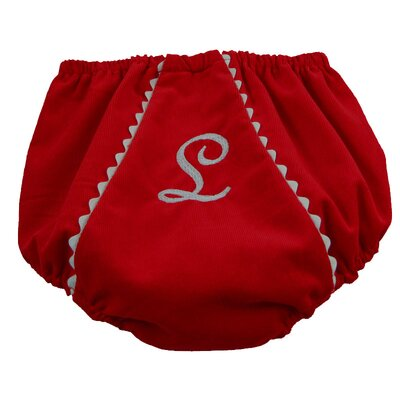 Princess Linens Bon Bon Corduroy Diaper Cover in Red with White Trim