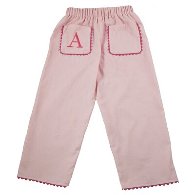Princess Linens Bon Bon Corduroy Pant with Rick Rack Pocket in Light Pink with Hot Pink Trim