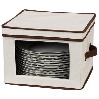 Household Essentials Storage and Organization Dinner Plate Chest Canvas with Trim
