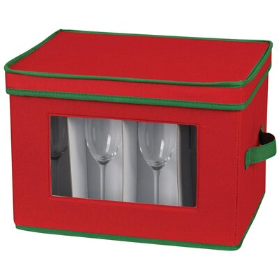 Household Essentials Storage and Organization Holiday Stemware Chest/Flute with Green Trim in Red