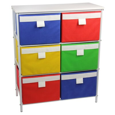 Storage Stand with 6 Bins and 2 Removable Shelves