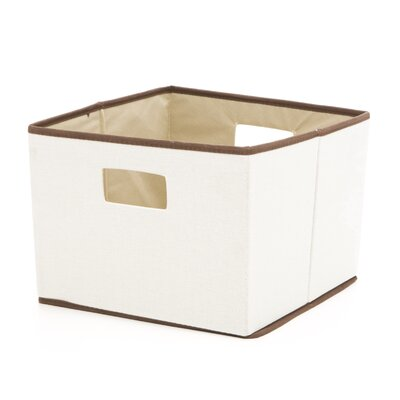 Brown Trimmed Storage Bin in Natural with Brown Trim