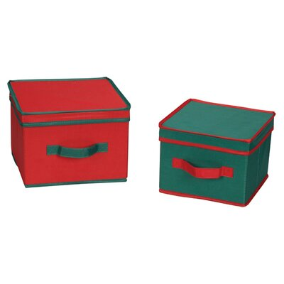 Storage and Organization Holiday Boxes with Green Trim in Red (Set of 2)