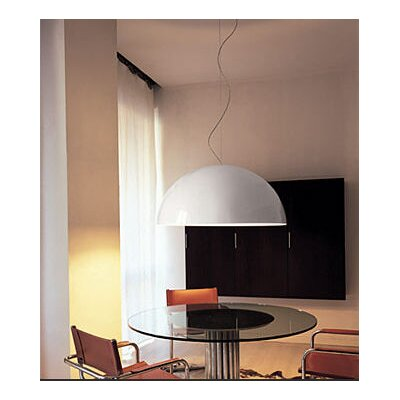 Oluce Sonora Suspension Lamp in Black/Painted White