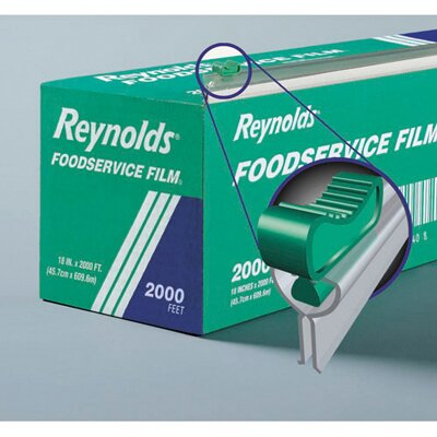 "Reynolds Food Packaging 18"" PVC Food Wrap Film Roll in Easy Glide Cutter Box in Clear"