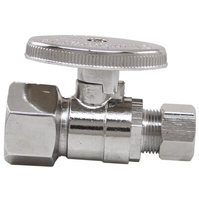 "Plumb Craft 0.5"" x 0.375"" Low Lead Quick Shutoff Straight Valve"