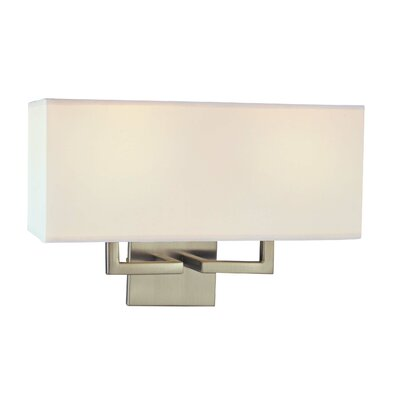 George Kovacs by Minka  Wall Sconce in Brushed Nickel with White Fabric Shade
