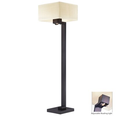 George Kovacs by Minka Floor Lamp in Bronze with Ivory Mobuka Shade