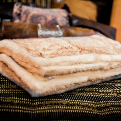 Posh Pelts Arctic Fox Faux Fur Acrylic Throw Blanket and Pillow Set