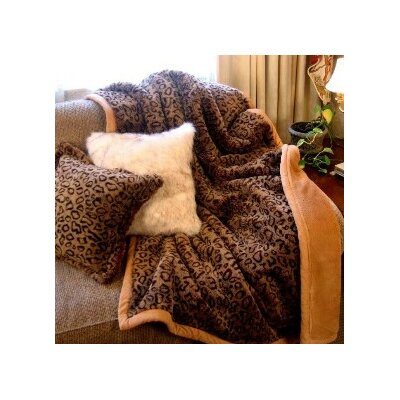 Posh Pelts Leopard Faux Fur Throw Blanket with Cinnamon Accents and Camel Color Lining