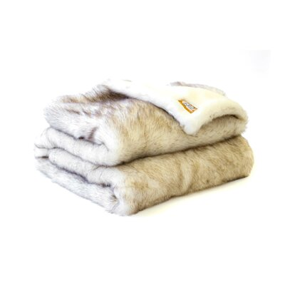 Posh Pelts Arctic Fox Faux Fur Acrylic Throw Blanket and Pillow Set