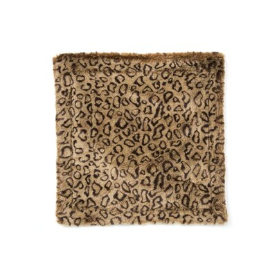 Posh Pelts Leopard Faux Fur Pillow Cover with Camel-Faux Suede Back