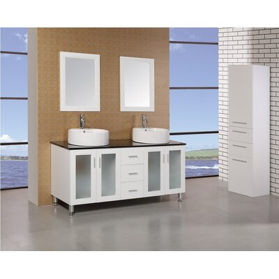 "Design Element Malibu 60"" Double Sink Modern Bathroom Vanity Set"