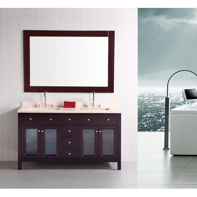 "Design Element Venetian 61"" Double Sink Bathroom Vanity Set"