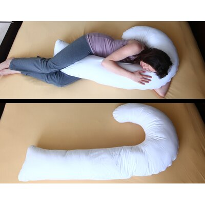 Deluxe Comfort J Full Body Pillow with Hypoallergenic Synthetic Fiber Filler