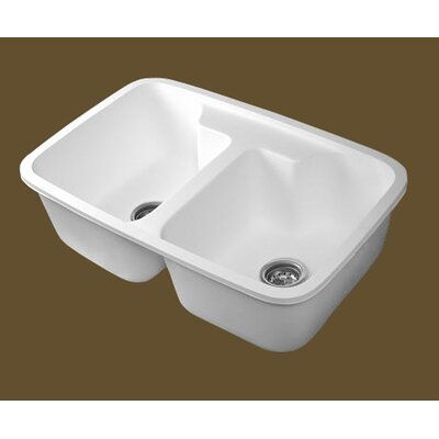 "Water Creation 30"" x 19"" Solidcrafts Undermount 50/50 Double Bowl Kitchen Sink"
